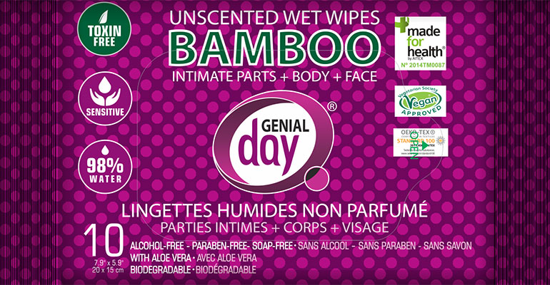 Genial Day Inc. Unscented Bamboo Wet Wipes