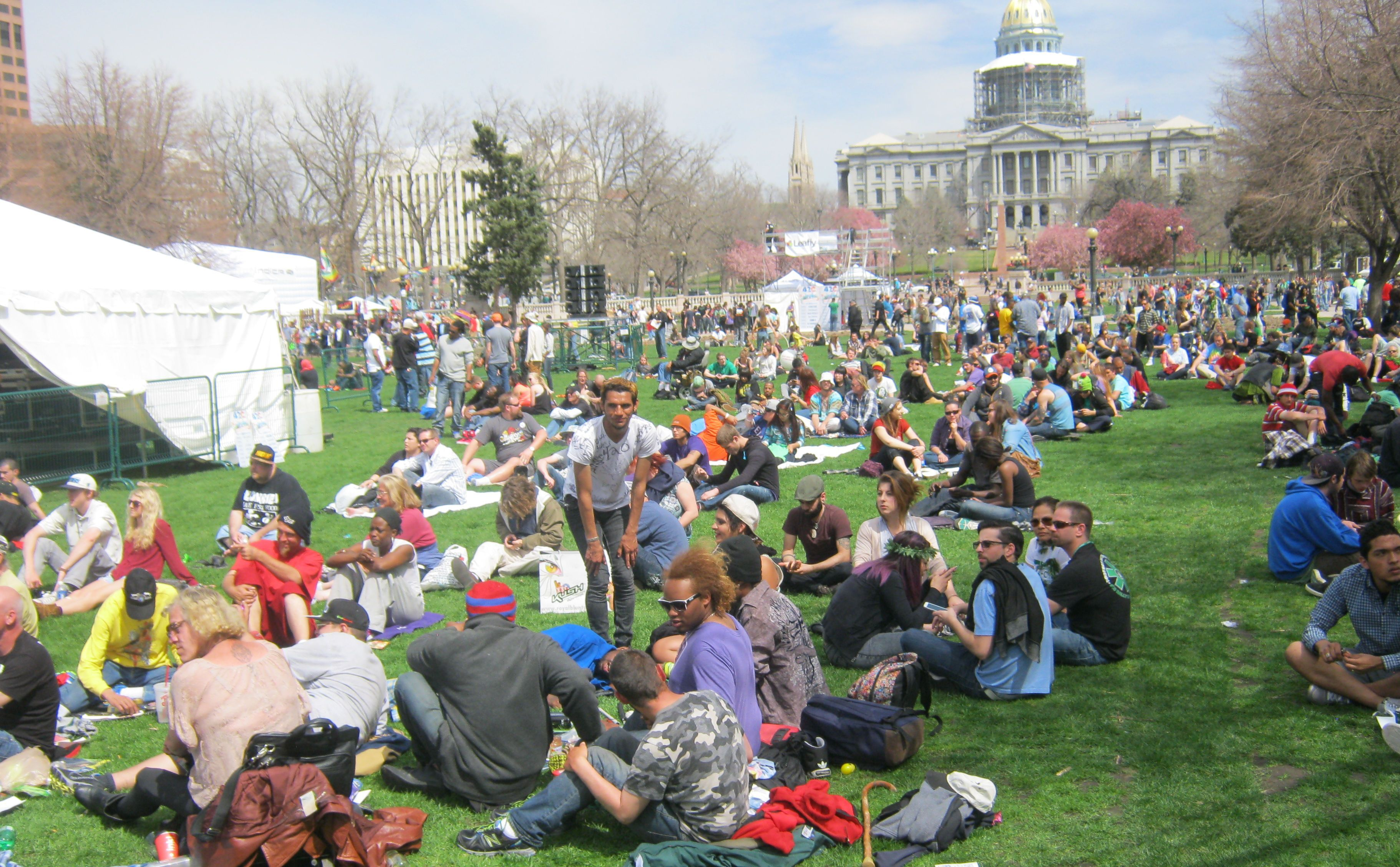 Coloradans celebrate the legalization of marijuana.