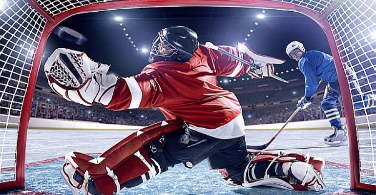 hockey goalie showing reaction time