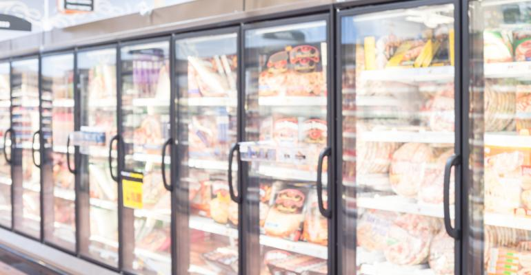 Frozen Food Aisle in a Grocery Store