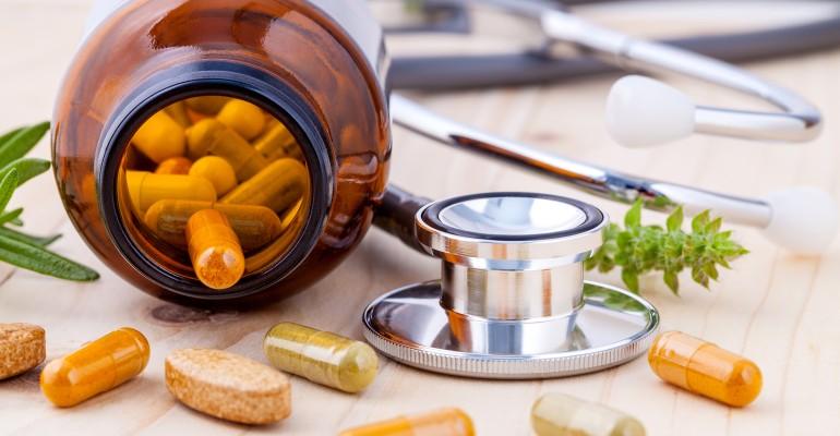 Bottle of Supplements, Stethoscope