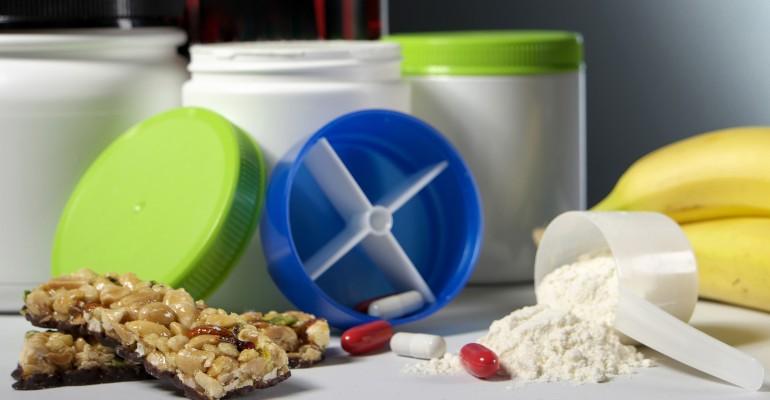 Protein Powder, Supplements, Bars, Bananas