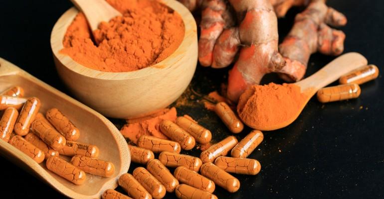 Tumeric root, powder, capsules