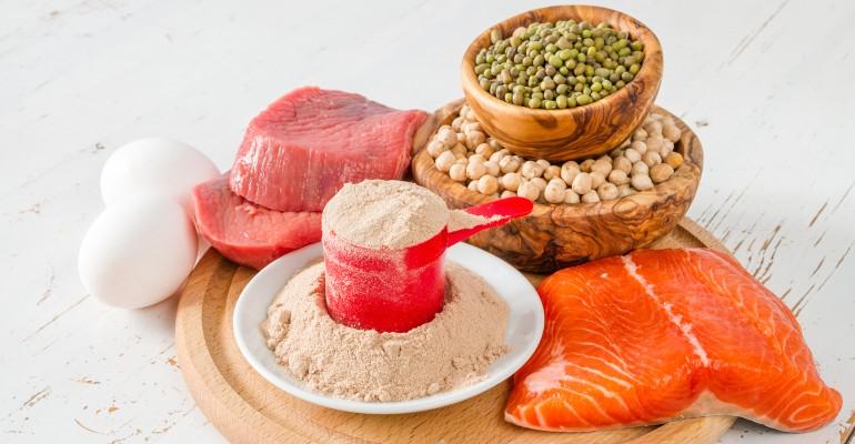 Steak, Salmon, Peas, Protein Powder