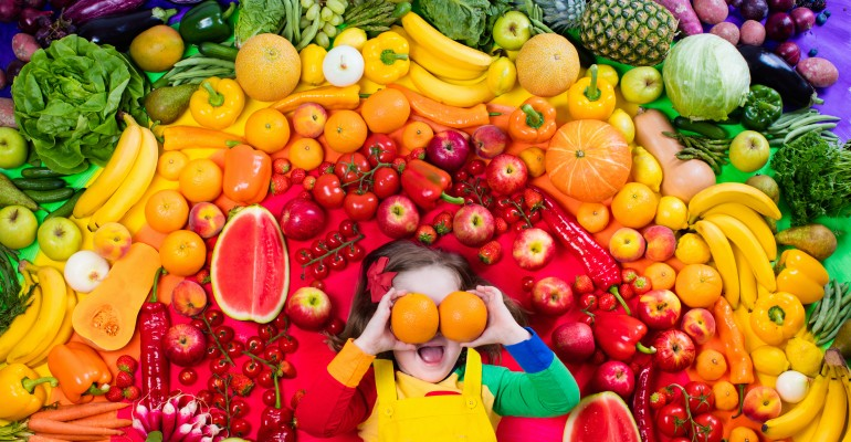 Young Girl and Various Fruits