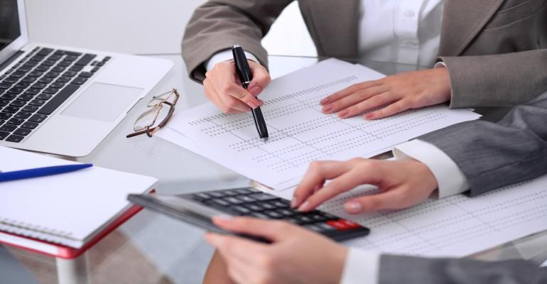businesspeople work on audit