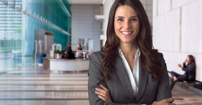 Happy looking businesswoman