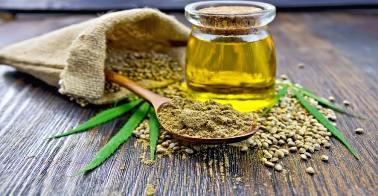 Hemp seeds and oil image