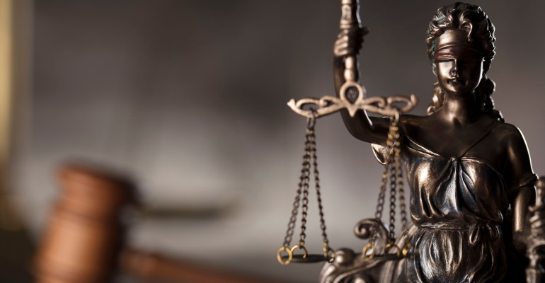Legal statue and gavel