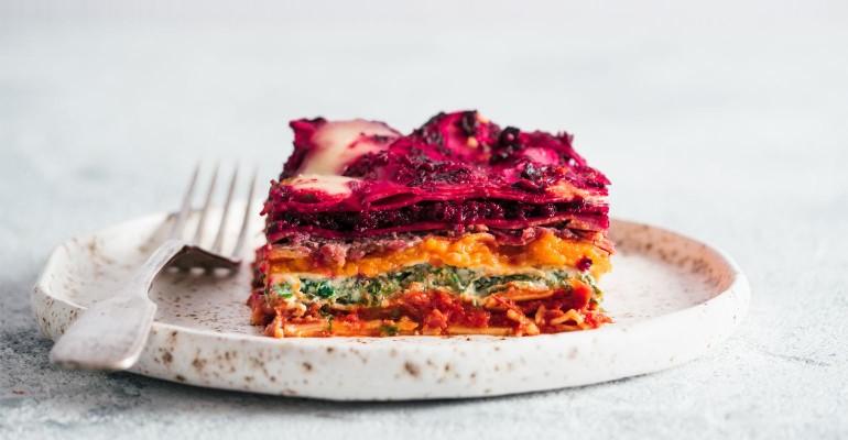 Frozen beet lasagna